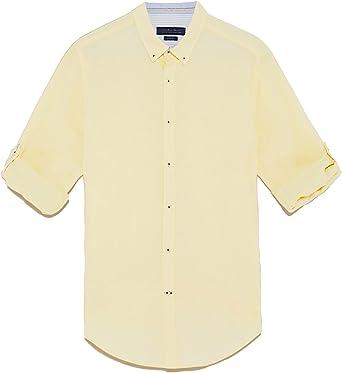 Zara Camisa casual - para hombre amarillo XXL: Amazon.es: Ropa y accesorios