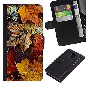 iBinBang / Flip Funda de Cuero Case Cover - En oro amarillo de la caída del otoño Naturaleza - Samsung Galaxy Note 4 SM-N910