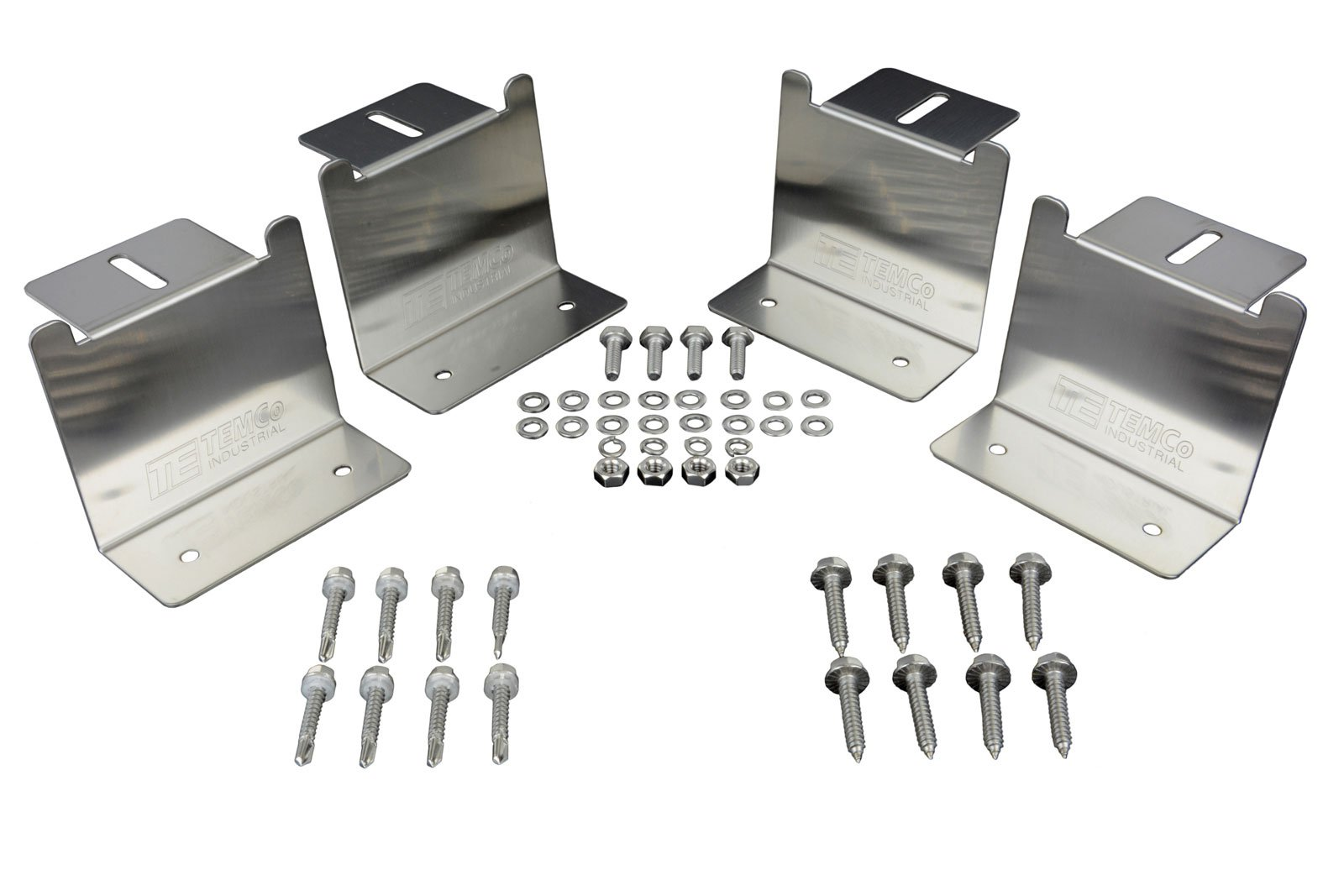 Temco 2 Qty New Solar Panel Mounting Z Bracket Stainless Steel Kit Mount Set Roof RV (with Wood Screws)