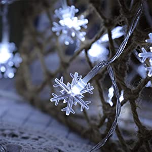 LED Christmas Snowflake String Lights,19.68FT 2 Flashing Modes Battery Operated Twinkling Fairy Xmas Lights for Indoor, Outdoor, Wedding Party, Christmas Tree, Garden Decoration (White Light)
