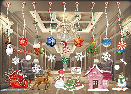 ENJOHOS Christmas Ball Windows Stickers Santa Claus Snowflake Removable Mural Window Cling Decal for Home Stores Display Window Door Wall Decor Art