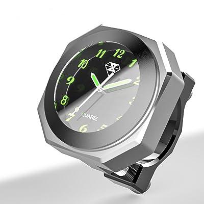 "PerfecTech Waterproof 7/8""- 1 1/8"" Handlebar Luminous Dial Motorcycle Clock for Dirt Bike Motocross Yamaha Kawasaki Honda Suzuki Harley Davidson (Silver): Automotive"