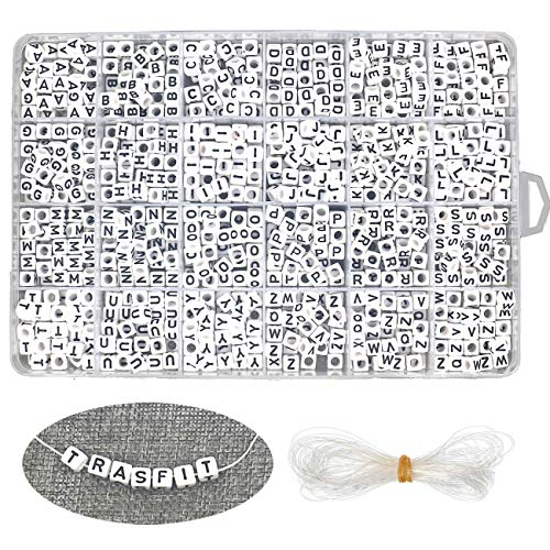 Trasfit 1008 Pieces A-Z Letter Beads, Boxed in Alphabetical Format, White Acrylic Cube Alphabet Beads for Jewelry Making, Bracelets, Necklaces, Key Chains and Kids Jewelry ()