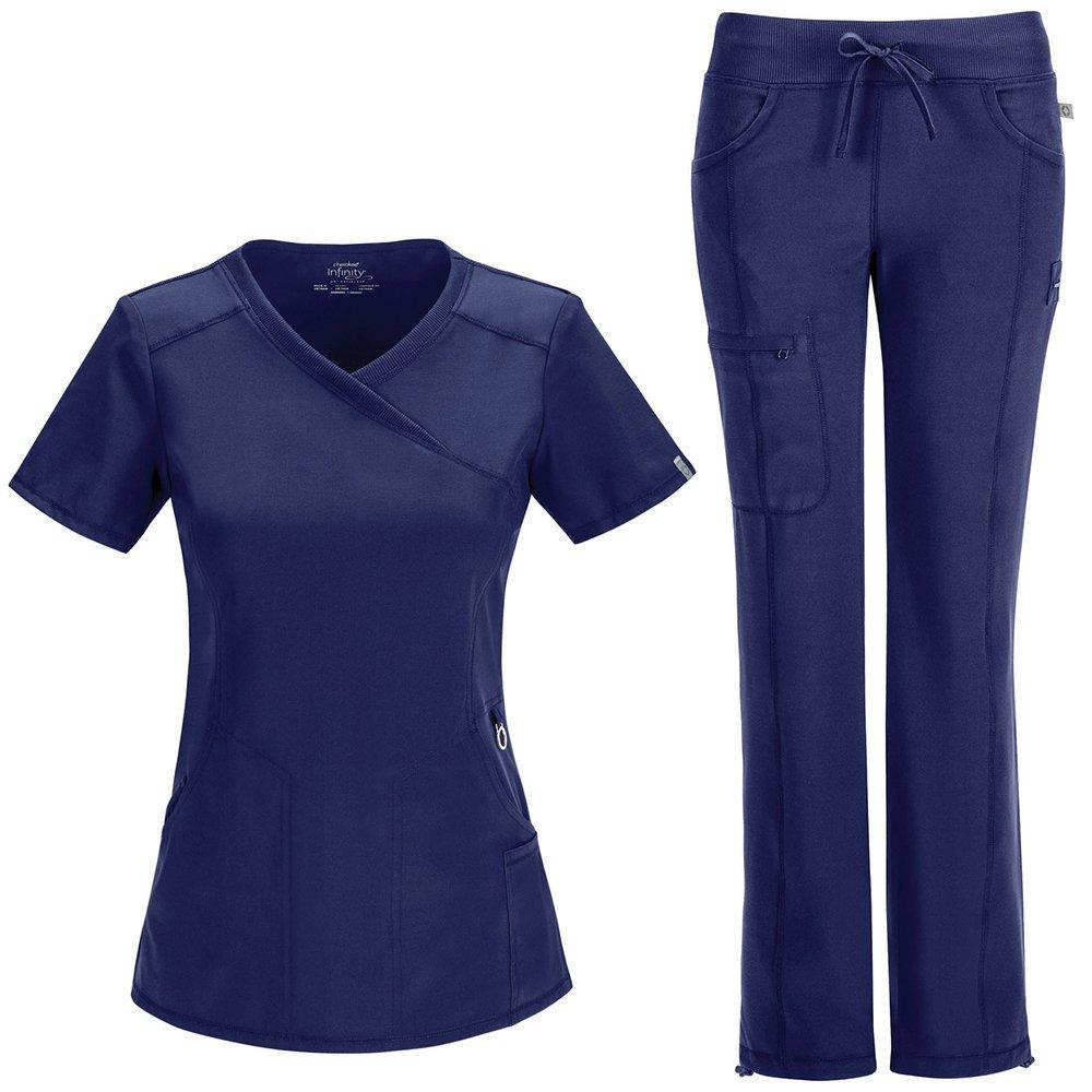 d143d46be1b Amazon.com: Cherokee Infinity Women's Mock Wrap Scrub Top & Straight Leg  Scrub Pant Set Large Navy: Clothing