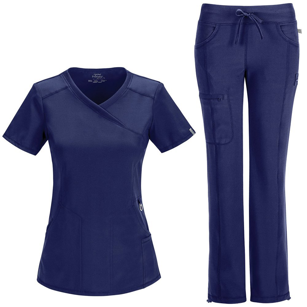 Infinity By Cherokee Women's Mock Wrap Scrub Top & Straight Leg Scrub Pant Set Small Navy