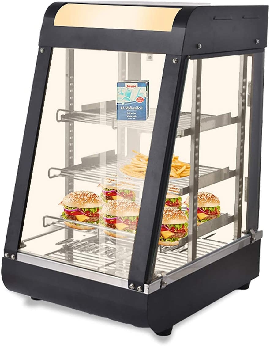 15''Commercial Food Warmer, 110V 30-85℃ Heat Preservation Cabinet With LED Lighting, Display Hot Food Countertop Case 3 Tier, For Buffet Restaurant Pizza Hamburger Pastry Warmer Show