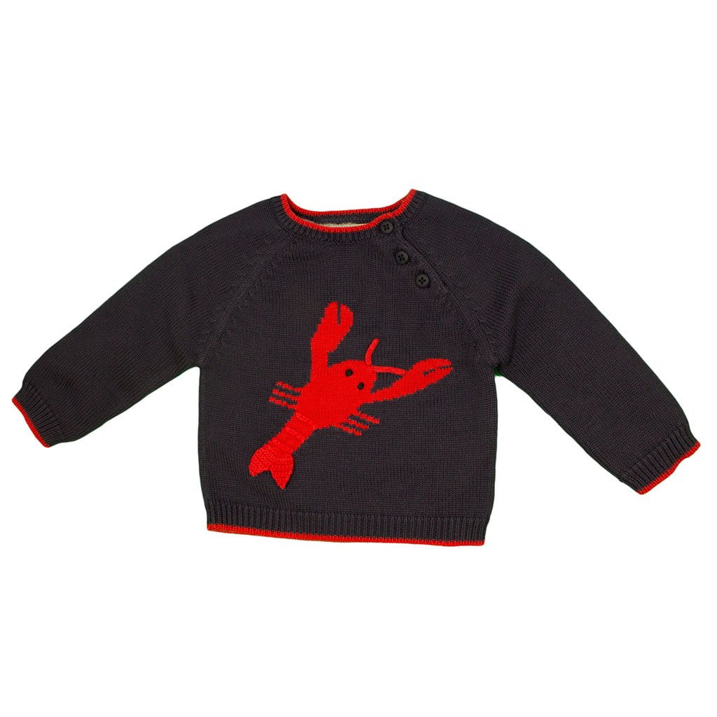 Zubels Hand-Knit Larry The Lobster Sweater, 3T - All-Natural Fibers, Eco-Friendly Navy by Zubels