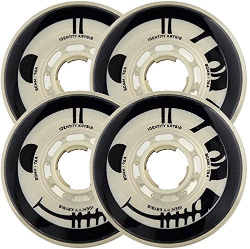 RINK RAT Wheels 72mm 76a IDENTITY KRYSIS 4-Pack White/Black Inline Indoor Hockey ()