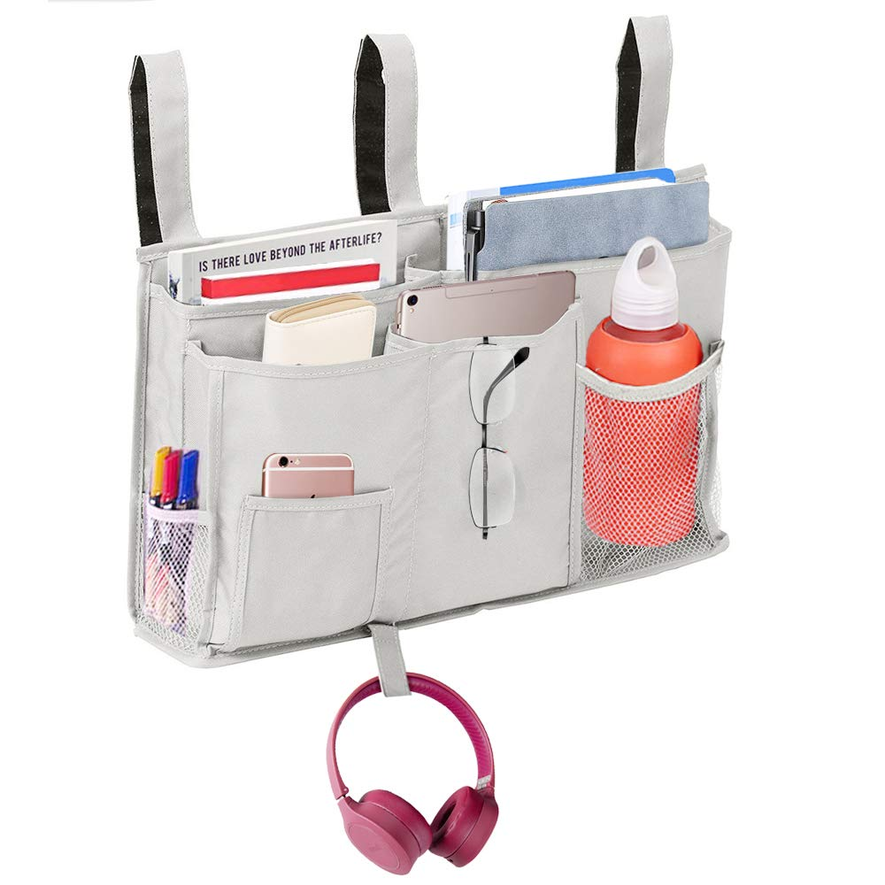 DZMWEK Room Caddy, Bedside Organizer Pocket Hanging Storage Bag Bed Accessory, Space Saver for Bunk, Hospital Beds, Dorm Rooms Bed Rails, Baby Bed, Baby Cart and Car Backrest