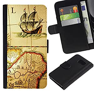Billetera de Cuero Caso Titular de la tarjeta Carcasa Funda para Samsung Galaxy S6 SM-G920 / Ancient Old Map Ship Brazil Continent Sailing / STRONG