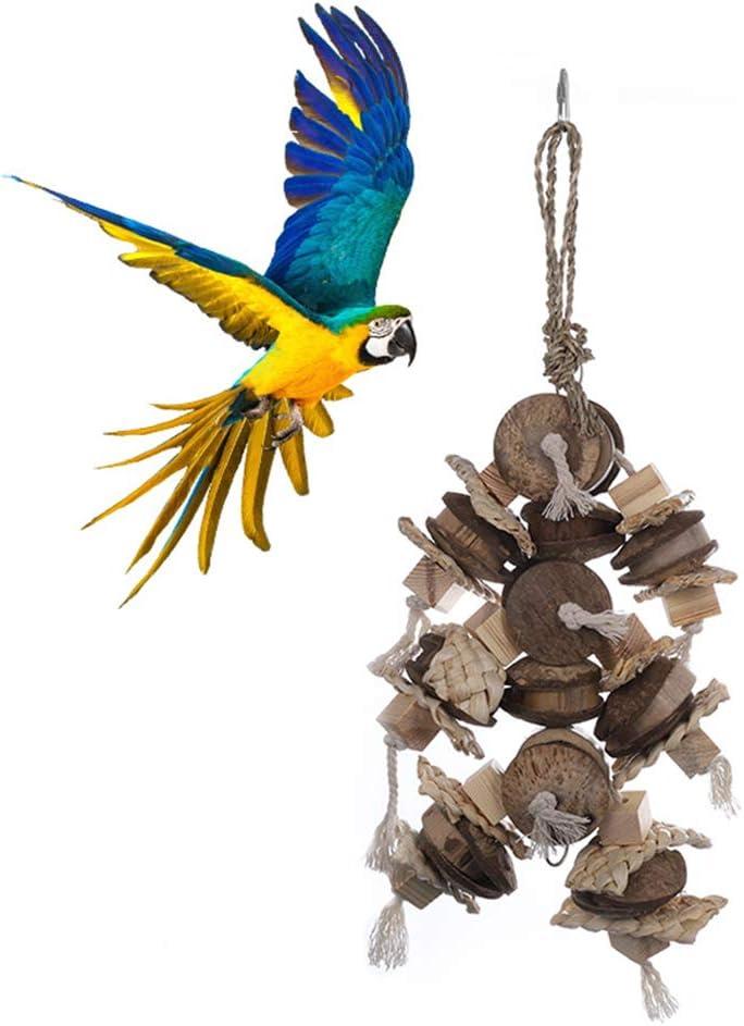 XDYFF Madera Swing Loro Jaula Juguetes pájaro Bola de caña Roe el Soporte Escalera Escalada Juguete Roe la Bola de la caña de Gris Africano Macaw Eclectus Jaula Perca Soporte Juguete oscilación: