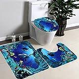 Lance Home 3 Picece Non Slip Sea World Bathroom Mat Set ( Bathroom Carpet + Pedestal Rug + Toilet Seat Cover )
