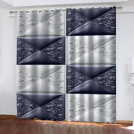 2Paneles An x Al QHJIAFANG Cortina OpacaPatr/ón Blanco Gris y Vintage Interior Habitaciones Infantiles Oficina Cortina Opaca con ojales2x117x138cm