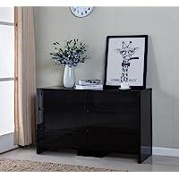 126CM High Gloss Piano Finish 6 Drawers Tallboy Cabinet Black