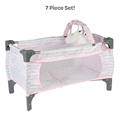Adora Baby Doll Crib Pink Deluxe Pack N Play 7-Piece Set Fits Dolls up to 20 inches, Bed/Playpen/Crib, Changing Table, 3 Clouds and Storage Bag: Toys & Games