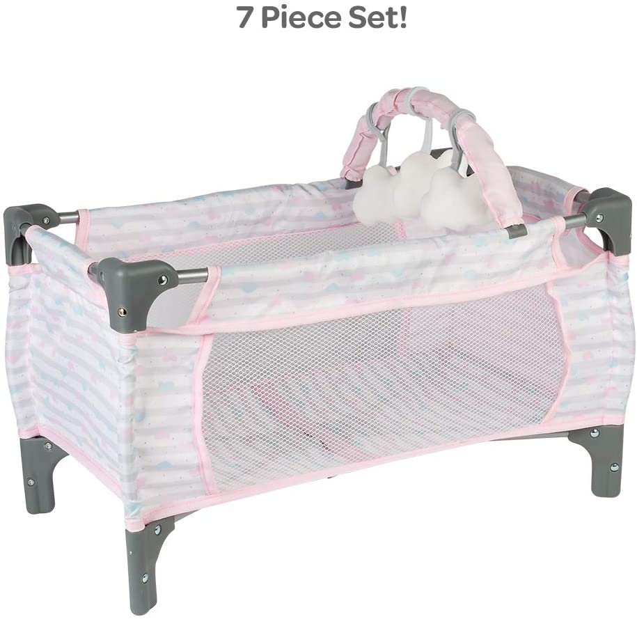 Adora Baby Doll Crib Pink Deluxe Pack N Play 7-Piece Set Fits Dolls up to 20 inches, Bed/Playpen/Crib, Changing Table, 3 Clouds and Storage Bag