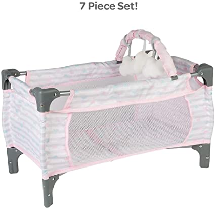 Amazon Com Adora Baby Doll Crib Pink Deluxe Pack N Play 7 Piece Set Fits Dolls Up To 20 Inches Bed Playpen Crib Changing Table 3 Clouds And Storage Bag Toys Games