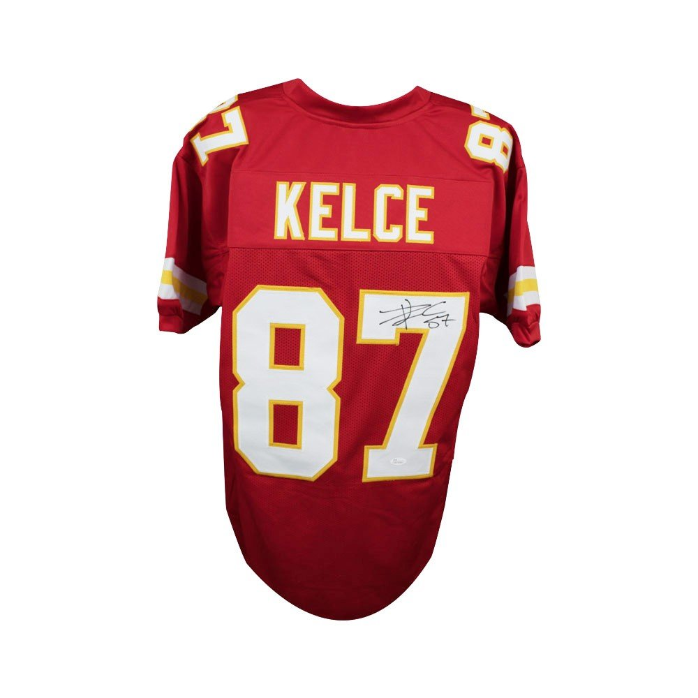 aa8300823 Travis Kelce Autographed Kansas City Chiefs Custom Red Football Jersey -  JSA (B) at Amazon s Sports Collectibles Store