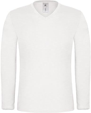 Camiseta de manga larga para hombre, 100% algodón, cuello en V ...