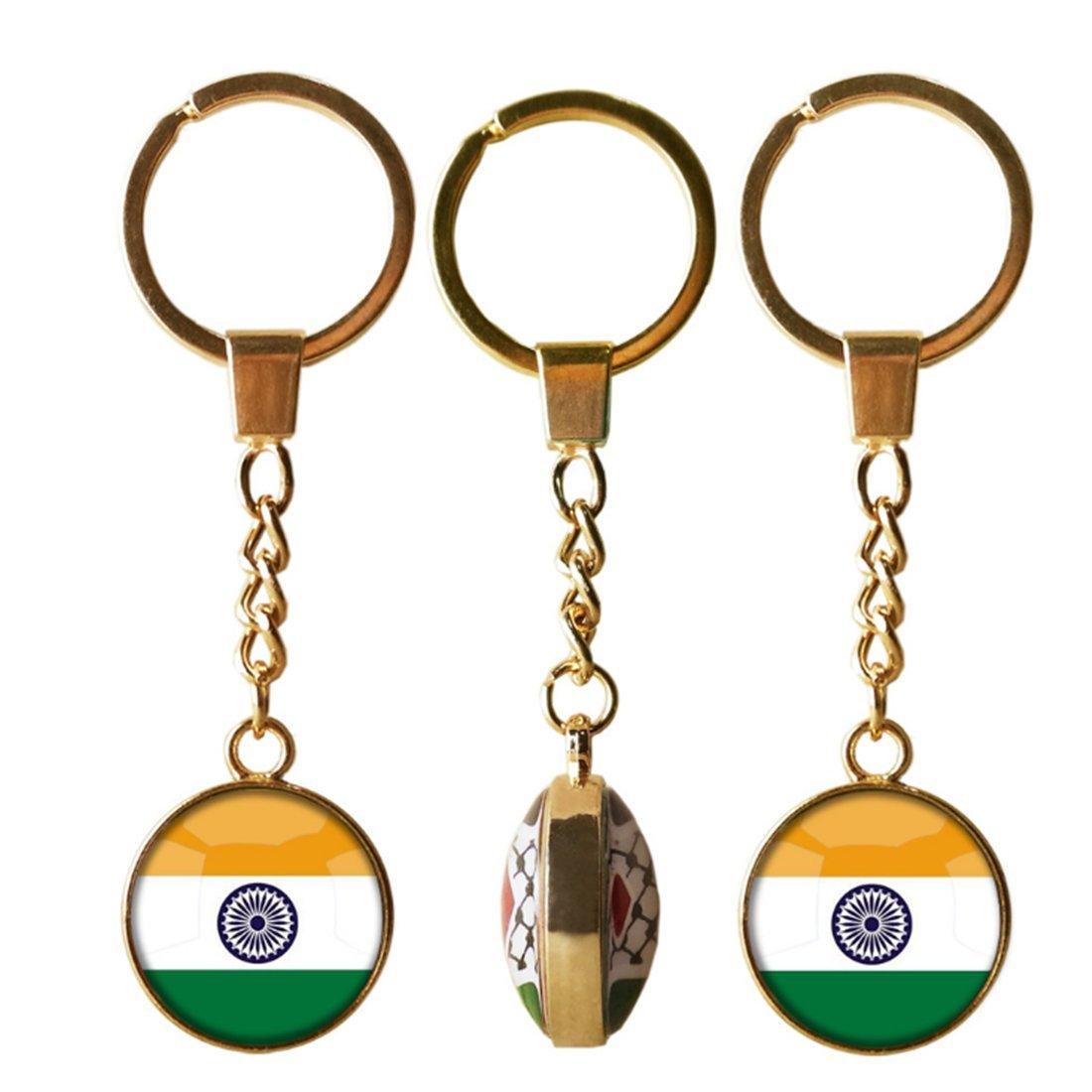 Amazon.com: Bandera de la India Llavero, vidrio Dome Llavero ...