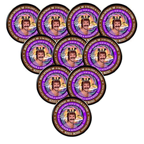 Pack-10 Sony Bono RIP Pins, Born Astrology Aquarius Zodiac Wood Pig (3