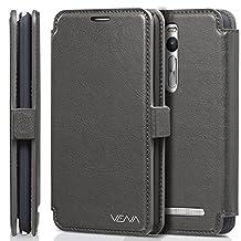 Vena Asus ZenFone 2 Case [vFolio] Vintage Flip Genuine Leather Wallet Stand Case Cover [Card Pockets] for Asus ZenFone 2 (5.5-inch) (Gray/Black)