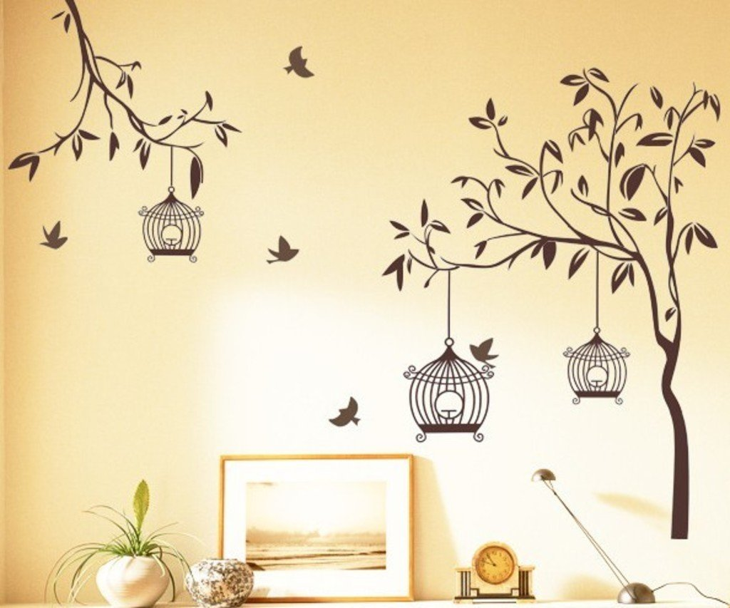 Buy Decals Design Tree With Birds And Cages Wall Sticker PVC - Wall designs pictures