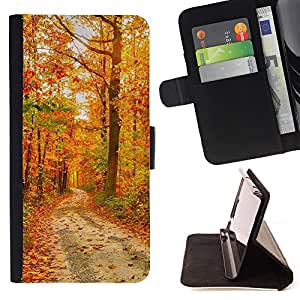 - Road wood - - Monedero PU titular de la tarjeta de cr?dito de cuero cubierta de la caja de la bolsa FOR Samsung Galaxy S5 Mini, SM-G800 Retro Candy