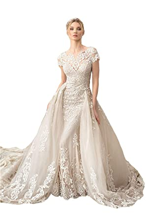 238fd29a91d Lazacos Women s Luxury Lace Appliques Mermaid Wedding Dress with Detachable  Train at Amazon Women s Clothing store