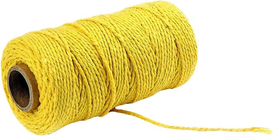 fiosoji 2mm Corde de Coton Cordon pour Macram/é Tissage D/écoration /à La Main Cadeau G/âteau Emballage