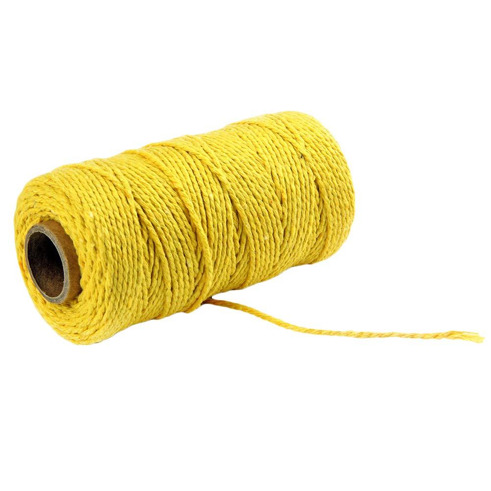 Brown Nikgic 2mm x 100mCorde de Coton Couleur Unie Corde Tress/ée Bricolage D/écoration /à la Main Cadeau Emballage La Corde