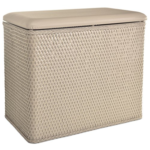 Bench laundry hamper in a flattering shade of beige.