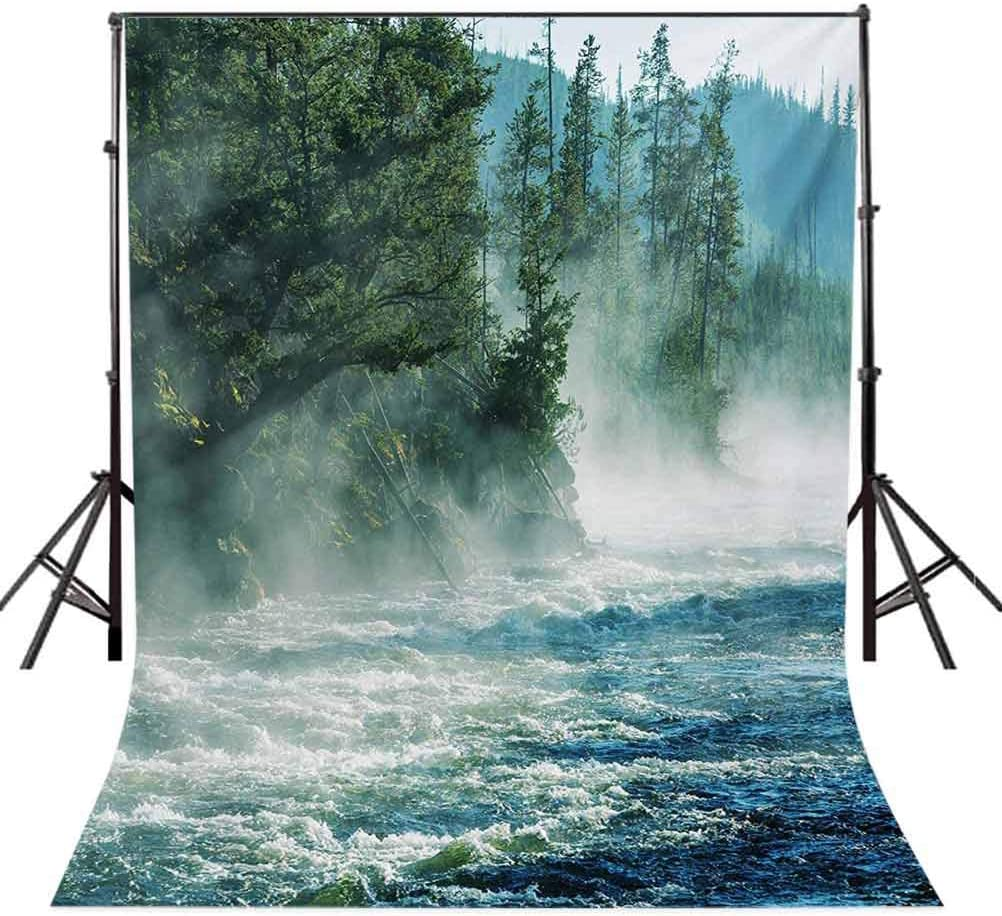 Yellowstone 10x15 FT Photo Backdrops,Fog on Yellowstone River Alpine Trees by The Bank Wilderness Waterscape Picture Background for Baby Shower Bridal Wedding Studio Photography Pictures Green Blue
