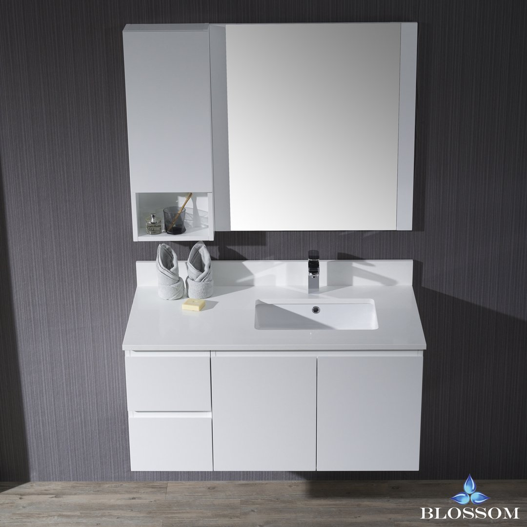 BLOSSOM 000-42-01-R-WH-M Monaco 42'' Wall Mount Right Vanity Set with Mirror and Wall Cabinet Matte White