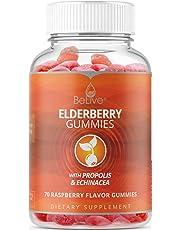 Elderberry Gummies for Kids and Adults with Vitaminc C, Propolis, Echinacea. Max Strength 200MG - Sambucus Black Elder Immune Support Vitamins Supplement | Raspberry Flavored. 70 Count