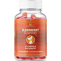 Elderberry Gummies for Kids and Adults with Vitaminc C, Propolis, Echinacea. Max Strength 200MG - Sambucus Black Elder Immune Support Vitamins Supplement | Raspberry Flavored. 70 Count