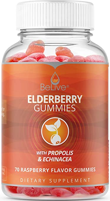 BeLive Elderberry Gummies with Vitamin C, Propolis, Echinacea - Max Strength 200MG for Kids and Adults, Raspberry Flavored, 70 Count