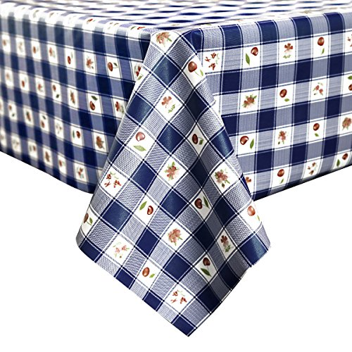Vinyl Tablecloth, LEEVAN Wipe Clean Heavy Weight Kitchen Rectangle Table  Cover Spill Proof Water