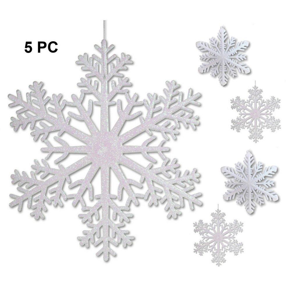 amazon com large snowflakes set of 5 white glittered snowflakes