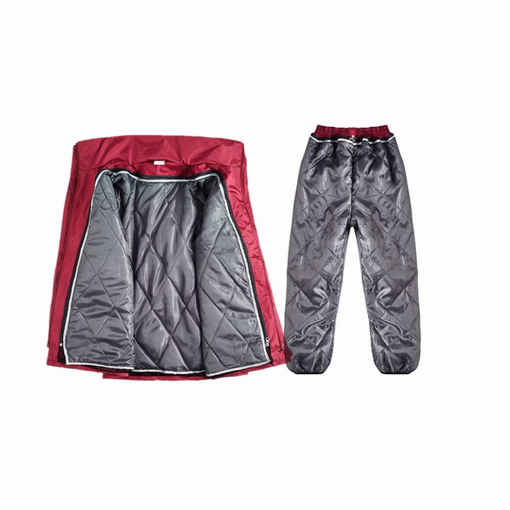 Rouge Medium Peggy Gu Imperméable à l'eau Chaude Hiver Veste et Pantalon de Pluie, imperméable à Capuchon à Capuche Costume ponch VêteHommests de Travail Robustes (Couleur   Noir, Taille   grand)