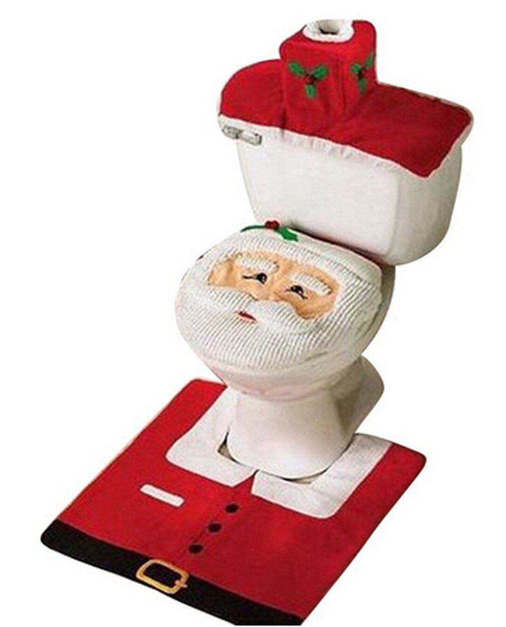 Weihnachtsdekorationen Happy Santa Toilettendeckelbezug und Teppich ...