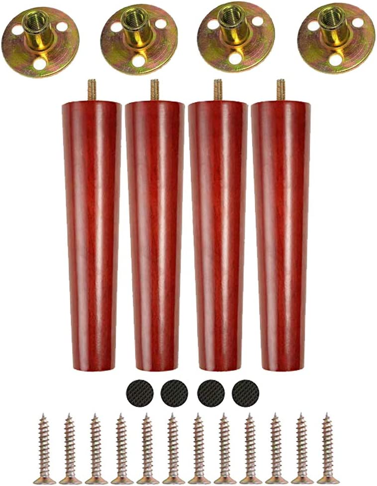 8'' Round Solid Wood Furniture Legs,Mid-Century Modern Replacement Legs for Sofa/Chair/Couch/Loveseat/Cabinet/Dresser/Coffee Table/Sideboard(8 Inch, Set of 4)