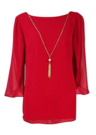 73a877f29f39 Image Unavailable. Image not available for. Color: MSK Women's Flutter  Sleeve Necklace Blouse ...