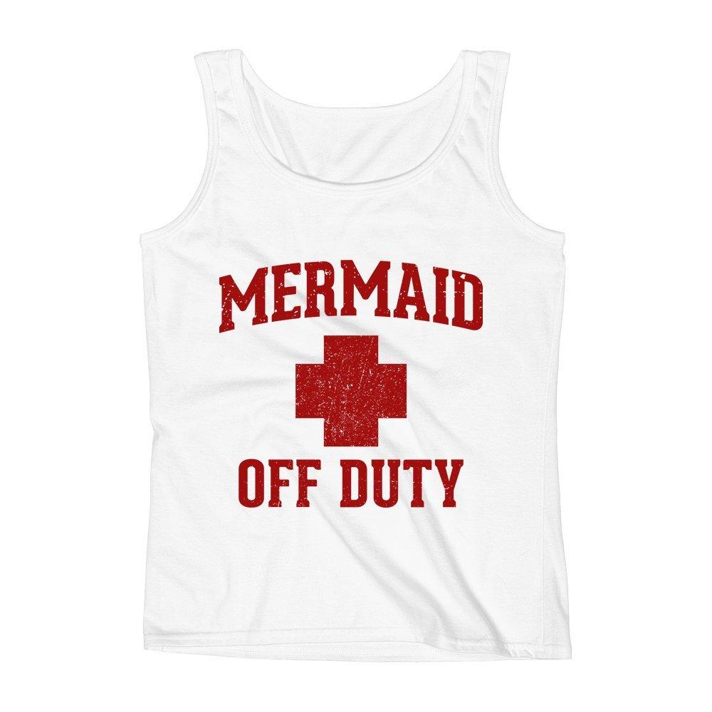 Mad Over Shirts Mermaid Off Duty Nurse Hospital Doctor Unisex Premium Tank Top