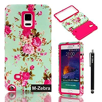 Note 4 Case, M-Zebra Galaxy Note 4 Case Cover - Shock Absorption / High Impact Resistant Full Body Hybrid Armor Protection Defender Case Cover for Samsung Galaxy Note 4,with Screen Protectors+Stylus (Black)+Cleaning Cloth by Samsung Galaxy Note 4