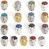 RUBYCA 10pcs Lot Mix Color Skull Beads Crystal