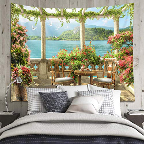 LB Realistic European Palace Garden Tapestry, Balcony Lake Mountain Scene Wall Hanging Tapestries Poster Art Bedspread Home Room Decor, 78 x 60 Inches