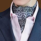 MENDENG Mens White Black Red Paisley Jacquard Woven Self Cravat Silk Tie Ascot