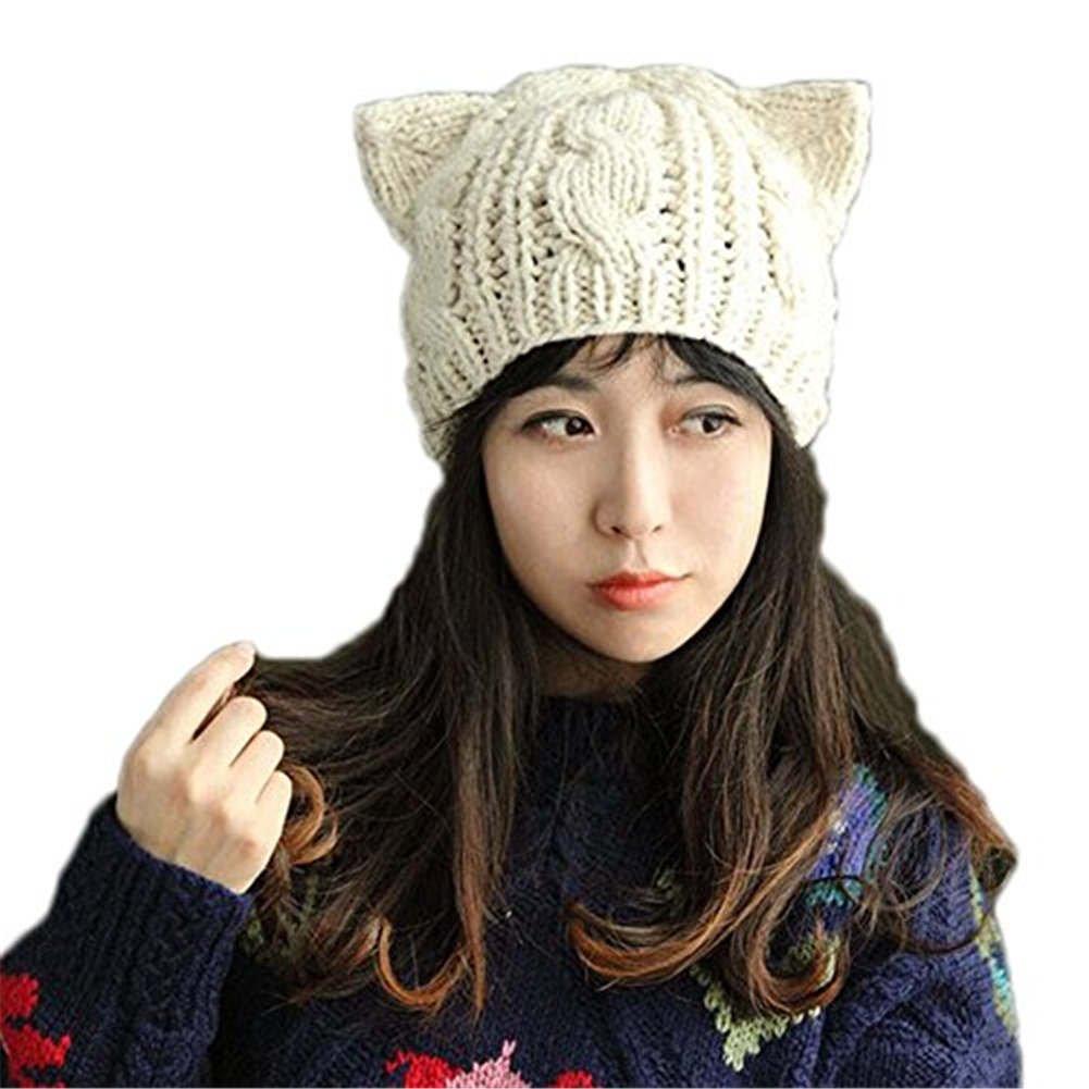 BIBITIME Knit Dog Ear Hat For Women Wool Yarn Crochet Handmade Warmer Beanie  Cap (Beige 5fa9660e395