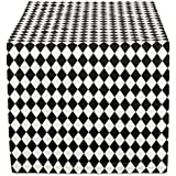 DII 14x72 Cotton Table Runner, Black & Cream Harlequin - Perfect for Halloween, Dinner Parties and Scary Movie Nights